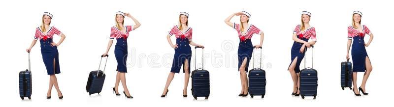El concepto del turismo que viaja aislado en blanco foto de archivo