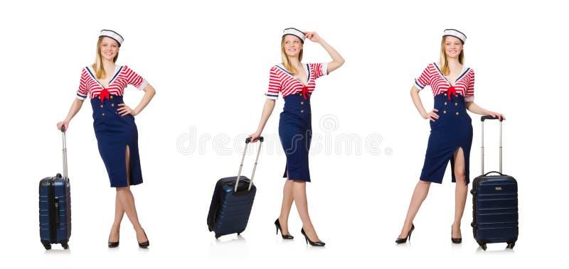 El concepto del turismo que viaja aislado en blanco fotografía de archivo libre de regalías