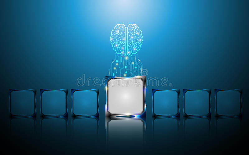 El concepto digital creativo del cerebro y del microchip resume el fondo libre illustration