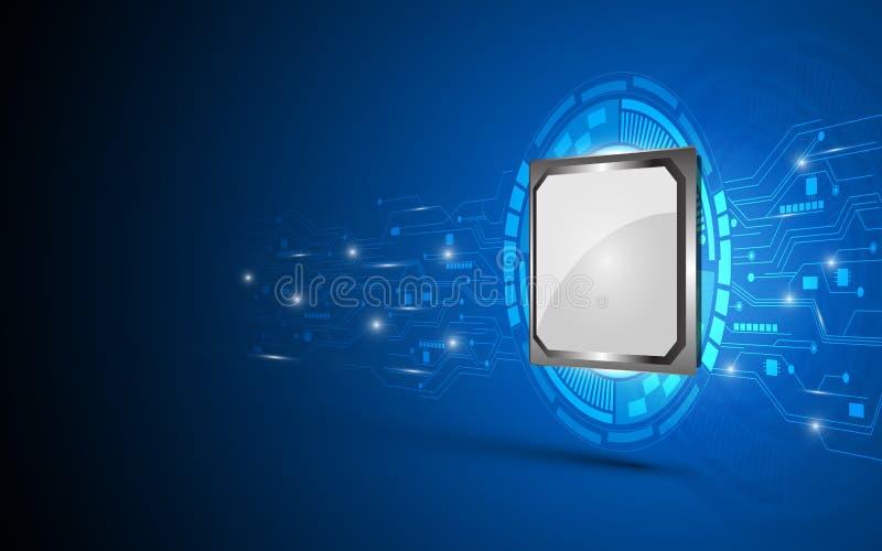 El concepto digital de trabajo eléctrico del procesador y del circuito resume el fondo ilustración del vector