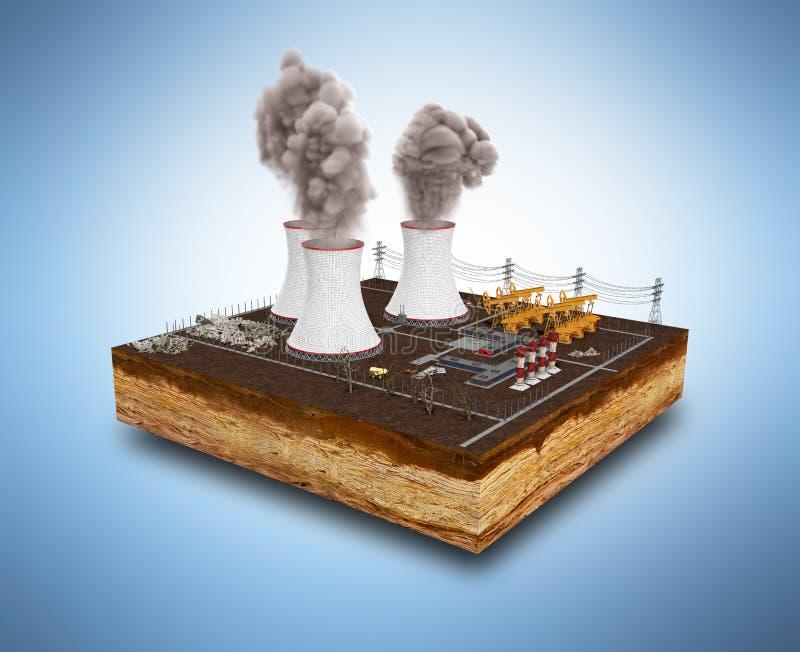 El concepto ecológicamente de problemas las centrales térmicas stock de ilustración