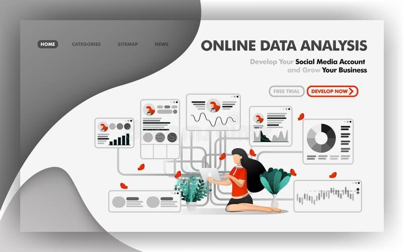 El concepto en línea del ejemplo del vector del análisis de datos, muchacha relajada analiza datos sobre la dirección del crecimi stock de ilustración