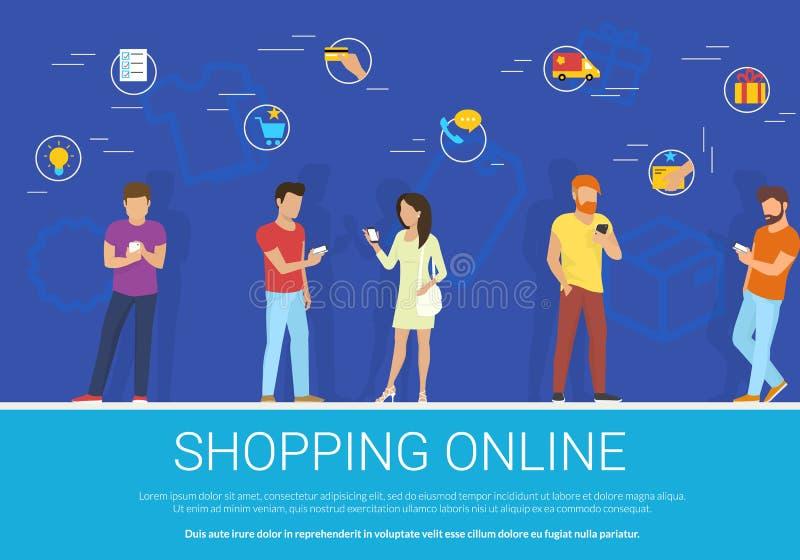 El concepto en línea que hace compras vector el ejemplo del grupo de personas que usa el smartphone móvil para comprar mercancías stock de ilustración