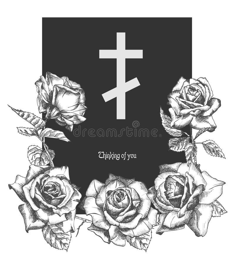 El concepto fúnebre del ornamento con las rosas exhaustas de la mano y la cruz en color negro aislada en el vintage blanco grabar libre illustration