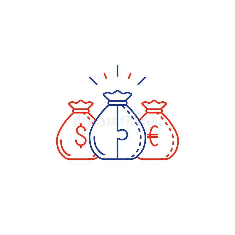 El concepto financiero, plan del presupuesto, dinero empaqueta, línea de interés compuesto icono ilustración del vector