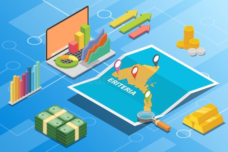 El concepto financiero sometric de la condición de la economía de Eritrea para describe crecimiento del país para ampliar - vecto stock de ilustración