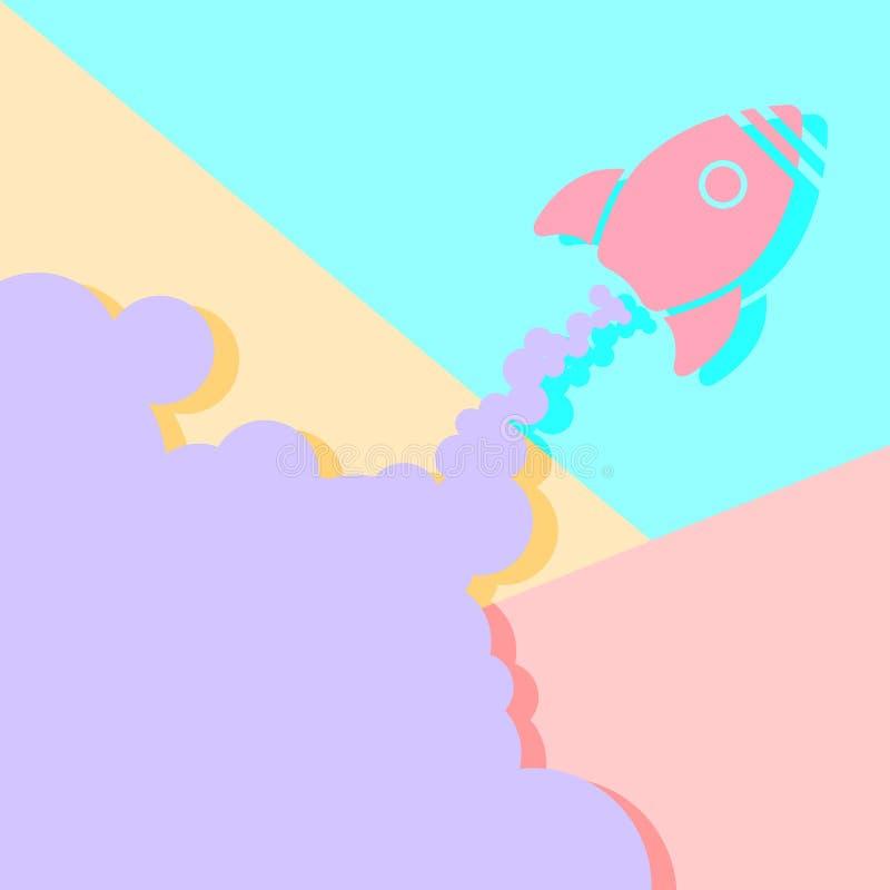 El concepto gr?fico de la imagen del dise?o m?nimo plano de la endecha de cohete empieza para arriba ilustración del vector