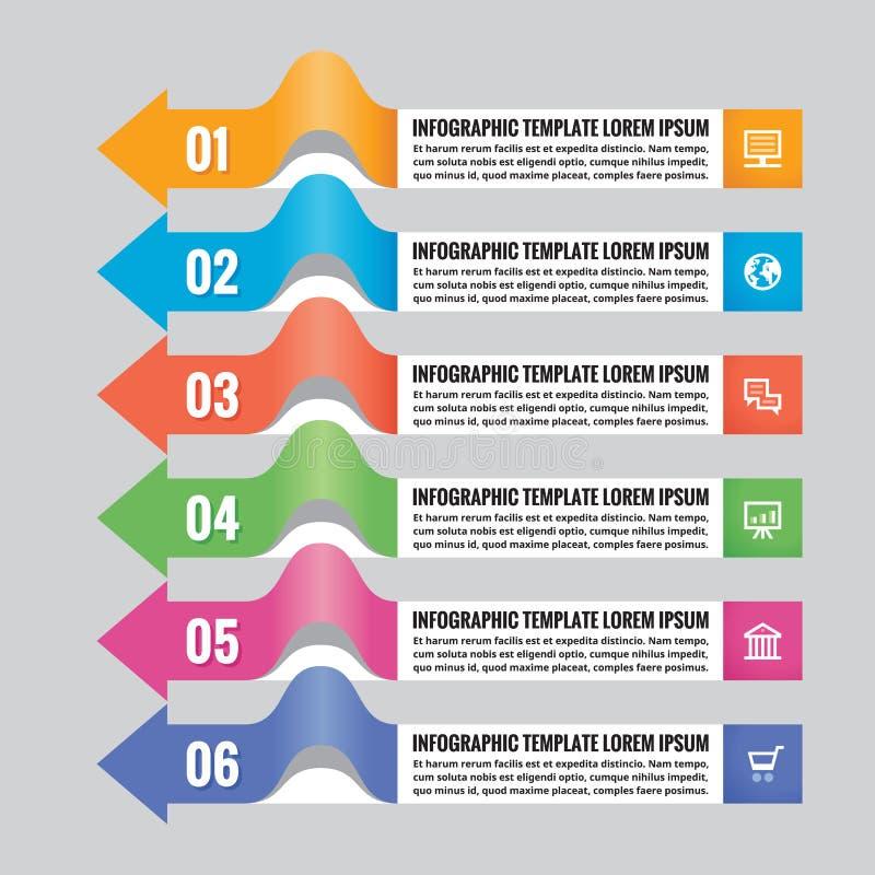 El concepto infographic del negocio - banderas coloreadas horizontales con las flechas - vector la disposición para la presentaci libre illustration