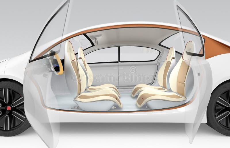El concepto interior del coche autónomo El volante plegable de la oferta del coche, asiento de pasajero rotativo imagenes de archivo