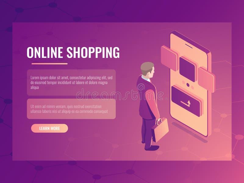 El concepto isométrico del vector de las compras en línea, hombre hace una compra, smartphone del teléfono móvil, orden electróni libre illustration