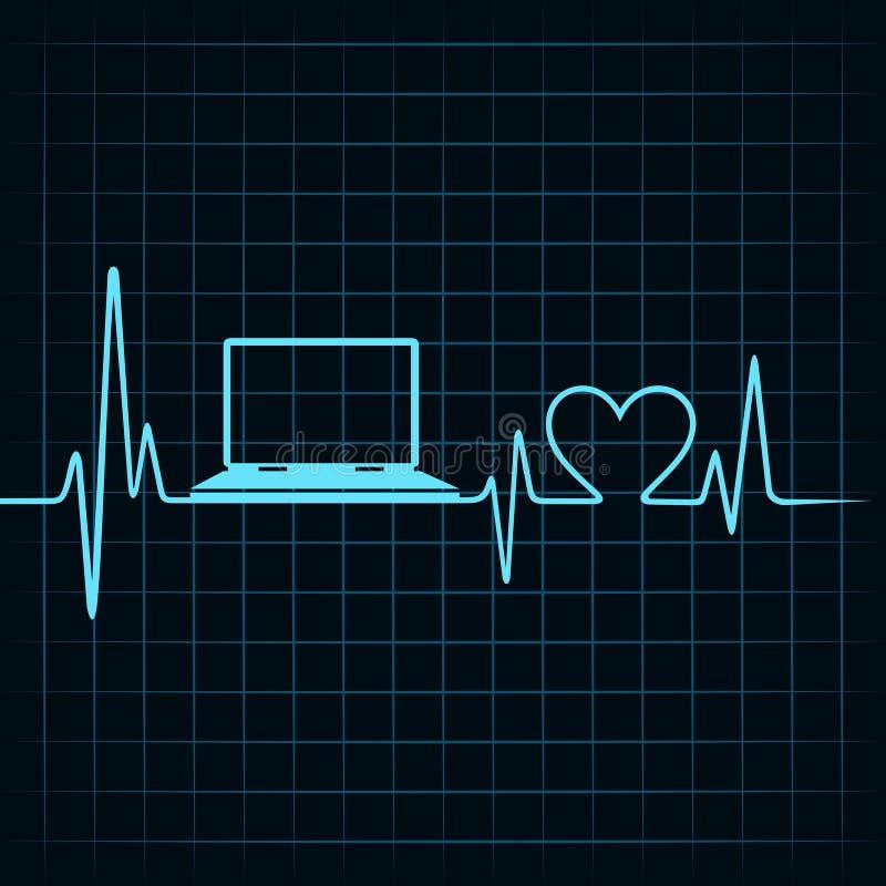 El concepto médico de la tecnología, latido del corazón hace un ordenador portátil stock de ilustración
