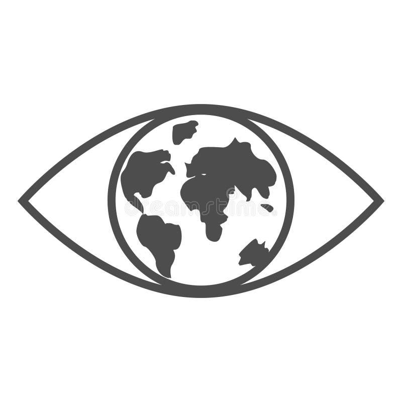 El concepto maravilloso de la tierra del planeta en el ojo humano ilustración del vector