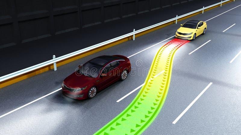 el concepto moderno de un sistema de vigilancia seguro 3d de la colisión del coche arranca stock de ilustración