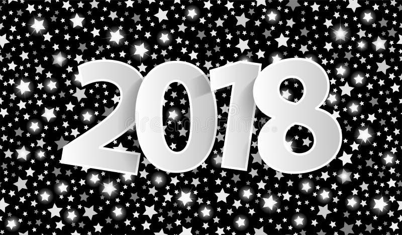 El concepto negro 2018 de la tarjeta de felicitación de la Feliz Año Nuevo con el papel de plata cuted los números blancos libre illustration