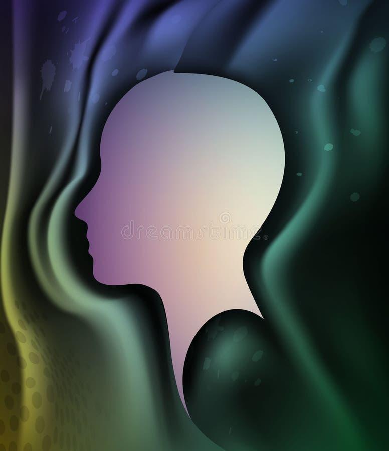 El concepto perdido de la memoria, perfil principal humano con vacío dentro, color de la energía de la mente, memoria perdió, ilustración del vector