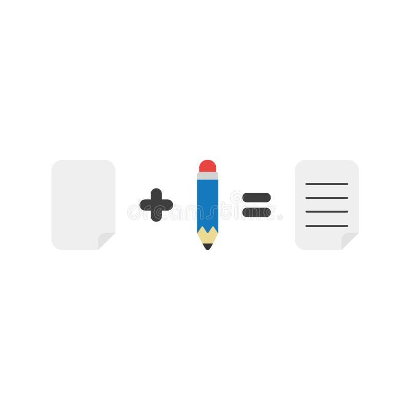 El concepto plano del vector del diseño de papel más el lápiz iguala p escrito ilustración del vector