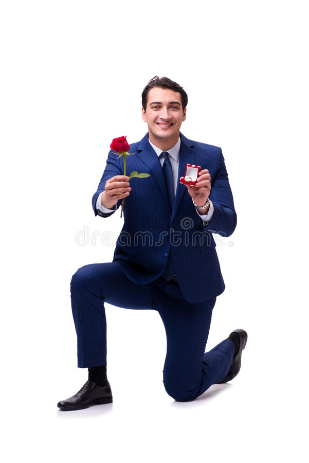 El concepto romántico con el hombre que hace propuesta de matrimonio foto de archivo libre de regalías