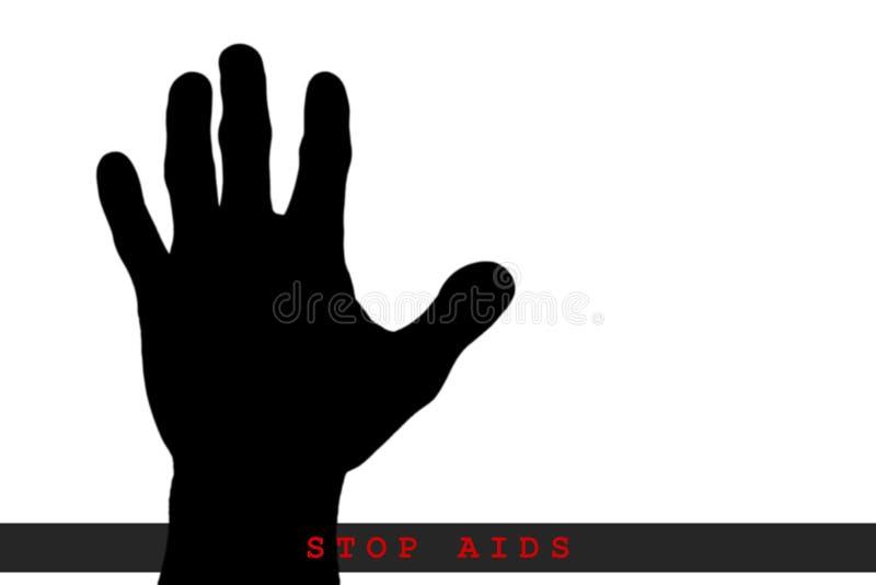 El concepto SIDA de la parada, parada aislada AYUDA, SIDA escrito a mano ilustración del vector