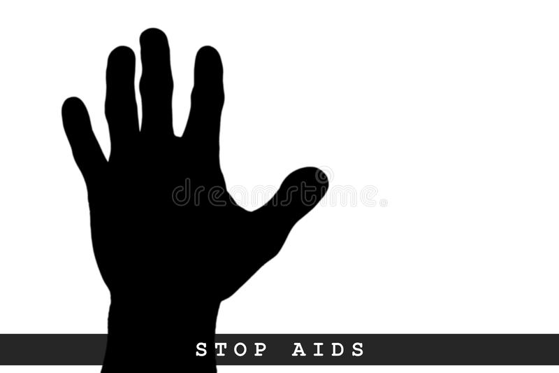 El concepto SIDA de la parada, parada aislada AYUDA, SIDA escrito a mano stock de ilustración