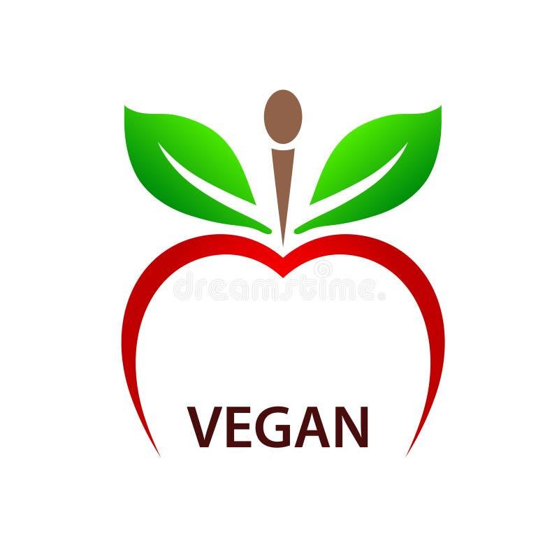 El concepto vegetariano con la manzana roja y el verde se va como la mujer si libre illustration