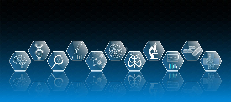 El concepto y el icono abstractos de la tecnología del fondo en luz azul, cerebro y cuerpo humano curan ilustración del vector