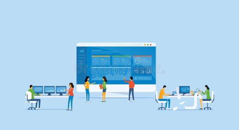 El concepto y el negocio de diseño del analytics del negocio combinan la reunión para trabajar stock de ilustración