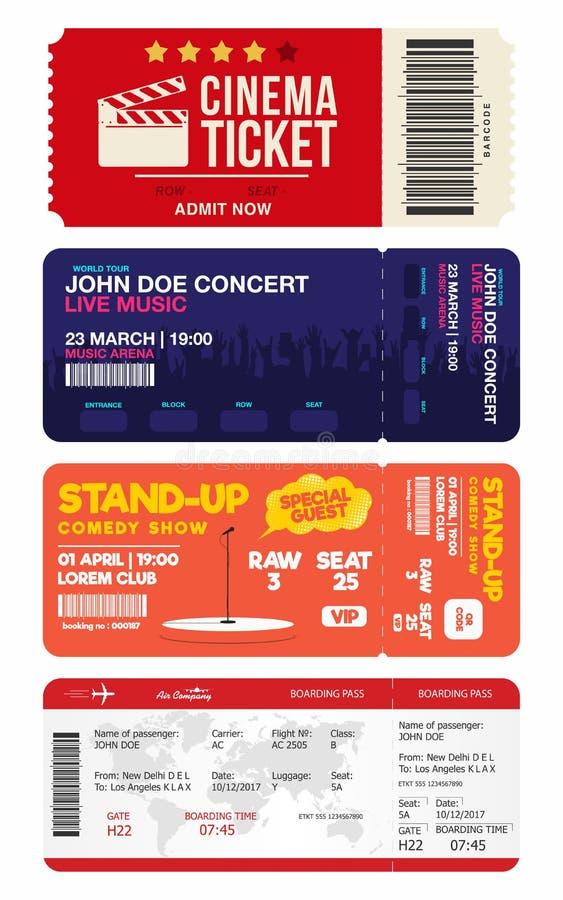 El concierto y se levanta boletos de la comedia Boleto del cine y documento de embarque del aeroplano Sistema grande de plantilla stock de ilustración