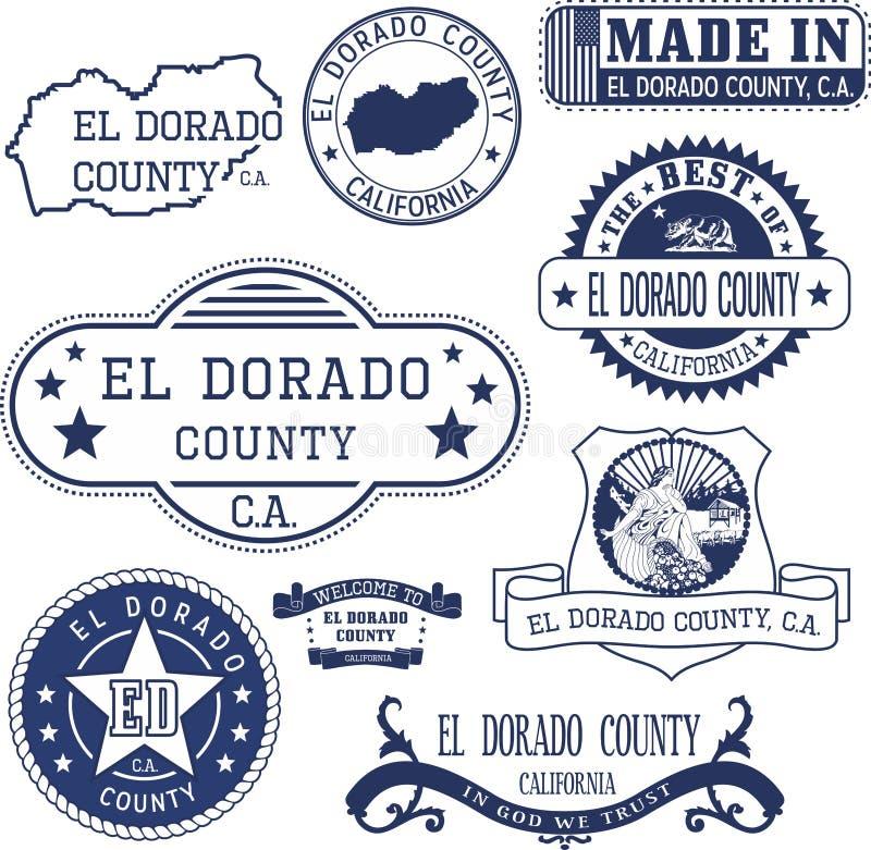 El condado de El Dorado, CA Sellos y muestras ilustración del vector