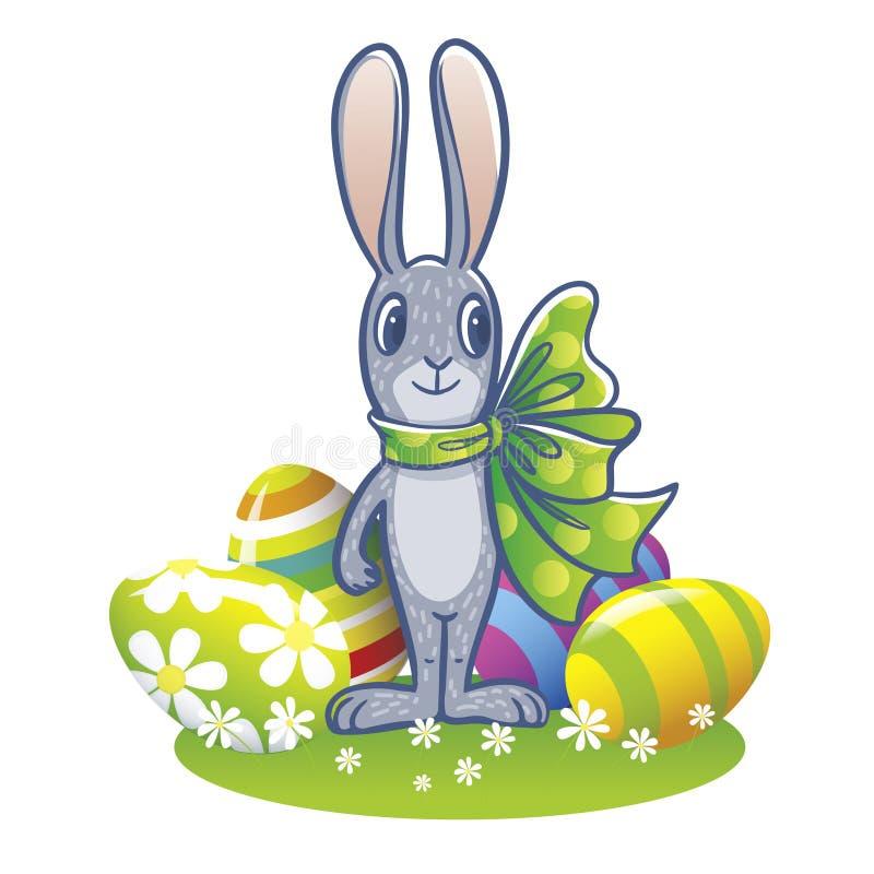 El conejito de pascua con una cinta grande y huevos de Pascua pintados stock de ilustración