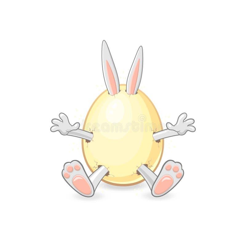 El conejito de pascua dulce sale del huevo - fondo aislado ilustración del vector