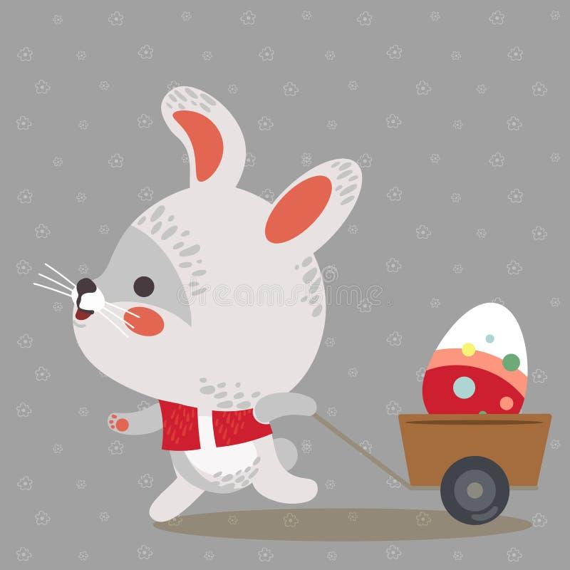 El conejito de pascua tira de un carro con los huevos adornados tenencia blanca linda del conejo, tarjeta de felicitación feliz d ilustración del vector