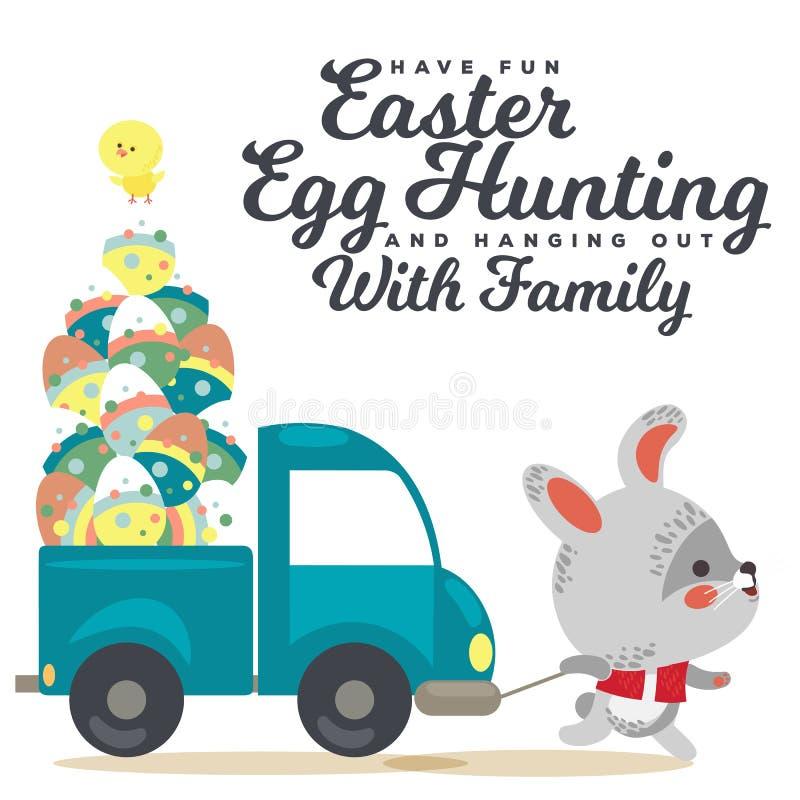 El conejito de pascua tira de un coche con el camión, caza auto adornada del conejo blanco lindo del cazador de los huevos, salud libre illustration