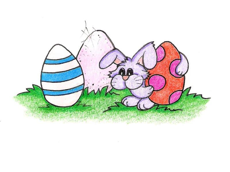 El conejito de pascua y sus huevos stock de ilustración