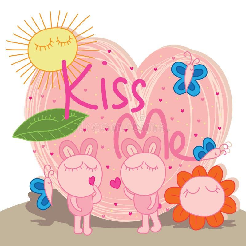 El conejito gordo me besa lindo stock de ilustración