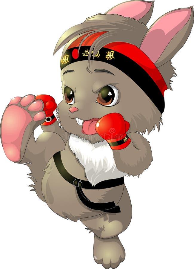 El conejito hermoso del karate en un fondo blanco stock de ilustración