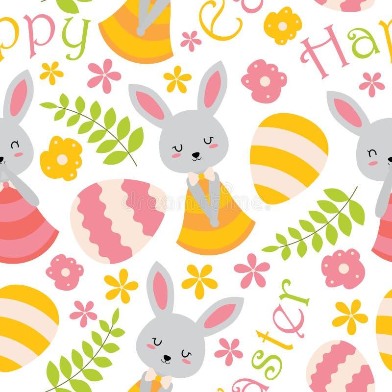 El conejito, las flores y los huevos lindos modelan el papel pintado stock de ilustración