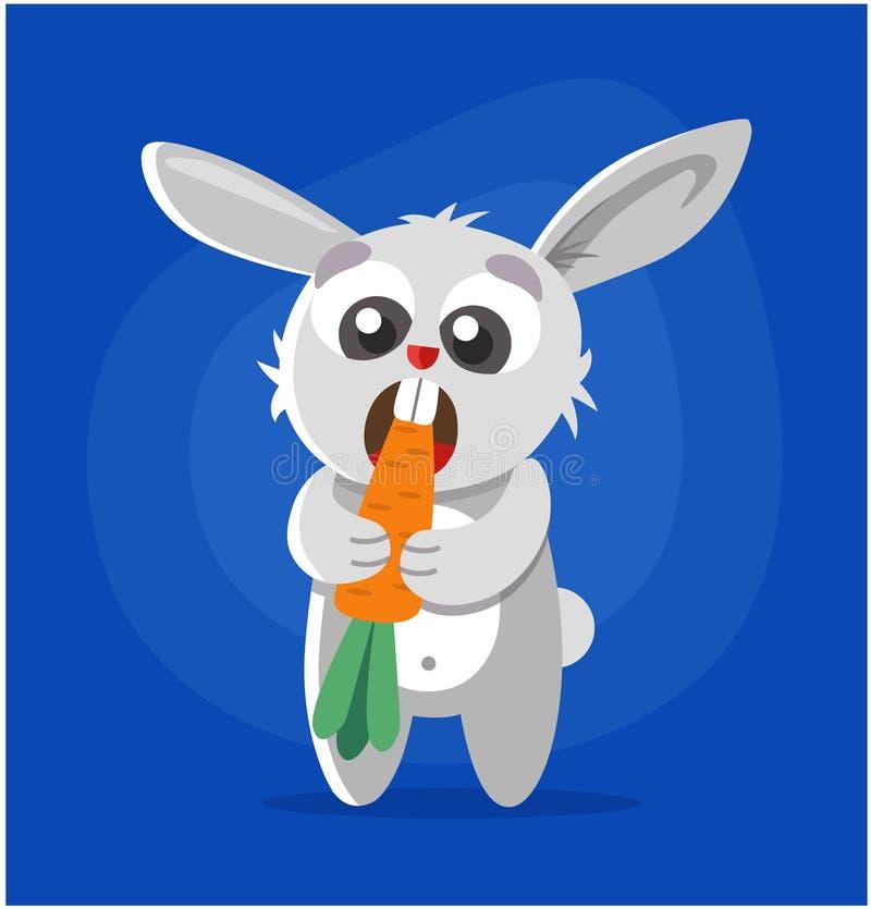 El conejo come la zanahoria stock de ilustración