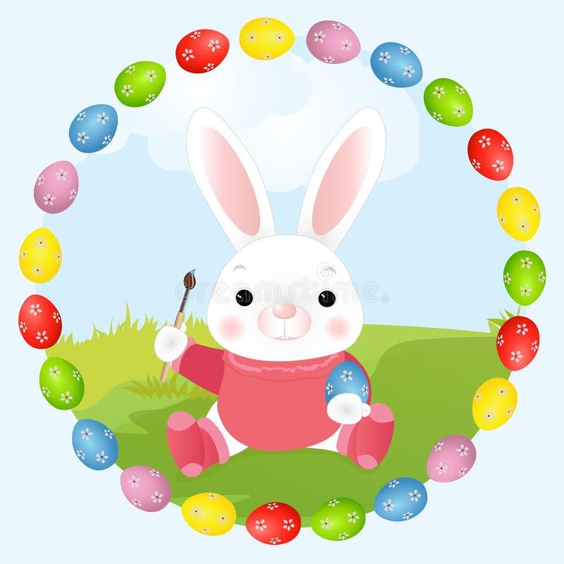 El conejo de Easter del artista del conejito de pascua pinta los huevos Illustrat del vector stock de ilustración