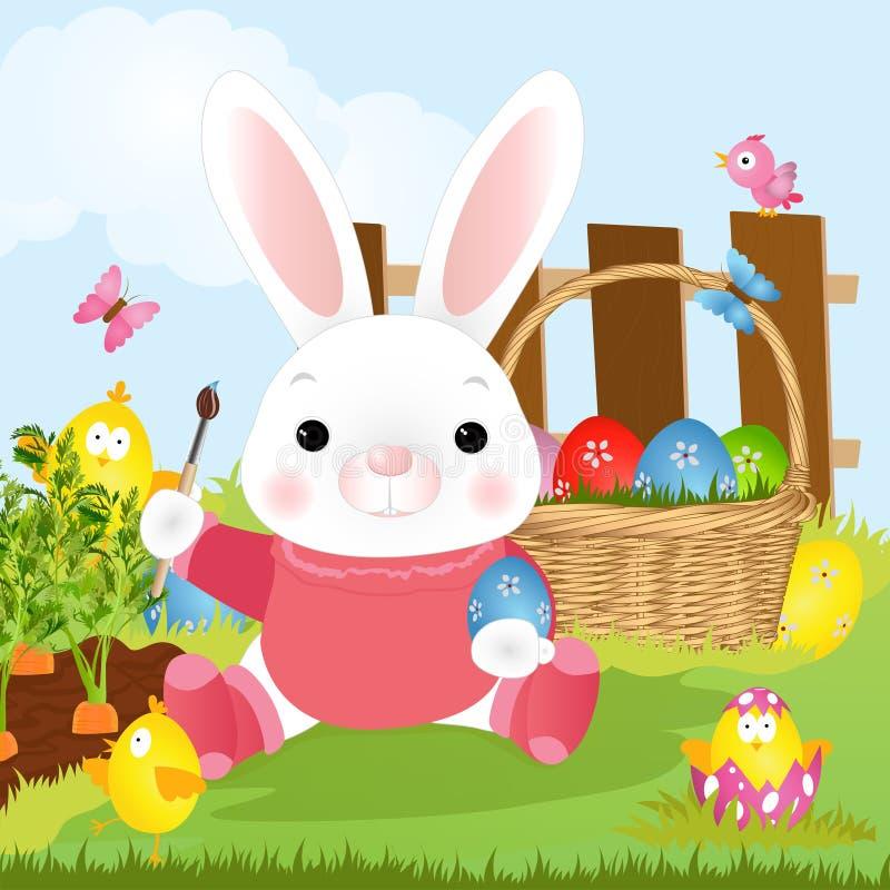 El conejo de Easter del artista del conejito de pascua pinta los huevos Ilustración del vector ilustración del vector