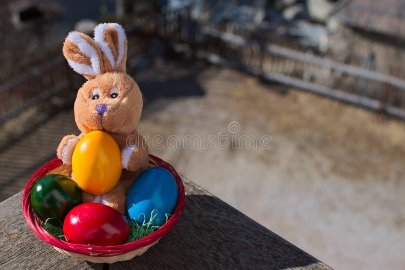 El conejo de la felpa de Pascua que se sentaba en una cesta con los huevos coloreados y que llevaba a cabo un amarillo coloreó el imagen de archivo libre de regalías