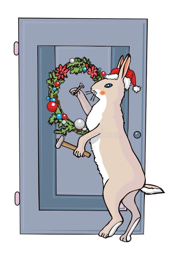 El conejo de la Navidad clava una guirnalda a la puerta stock de ilustración
