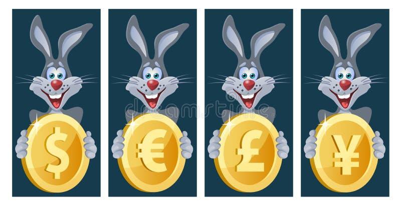 El conejo divertido lleva a cabo símbolos de diversas monedas Dólar, euro ilustración del vector