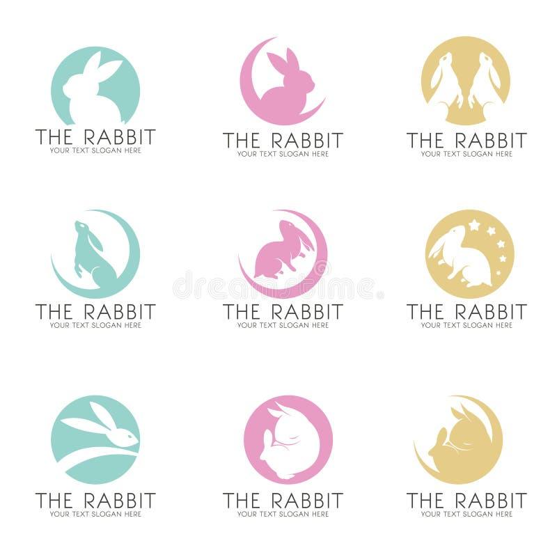 El conejo en el diseño determinado del vector del logotipo de la luna ilustración del vector