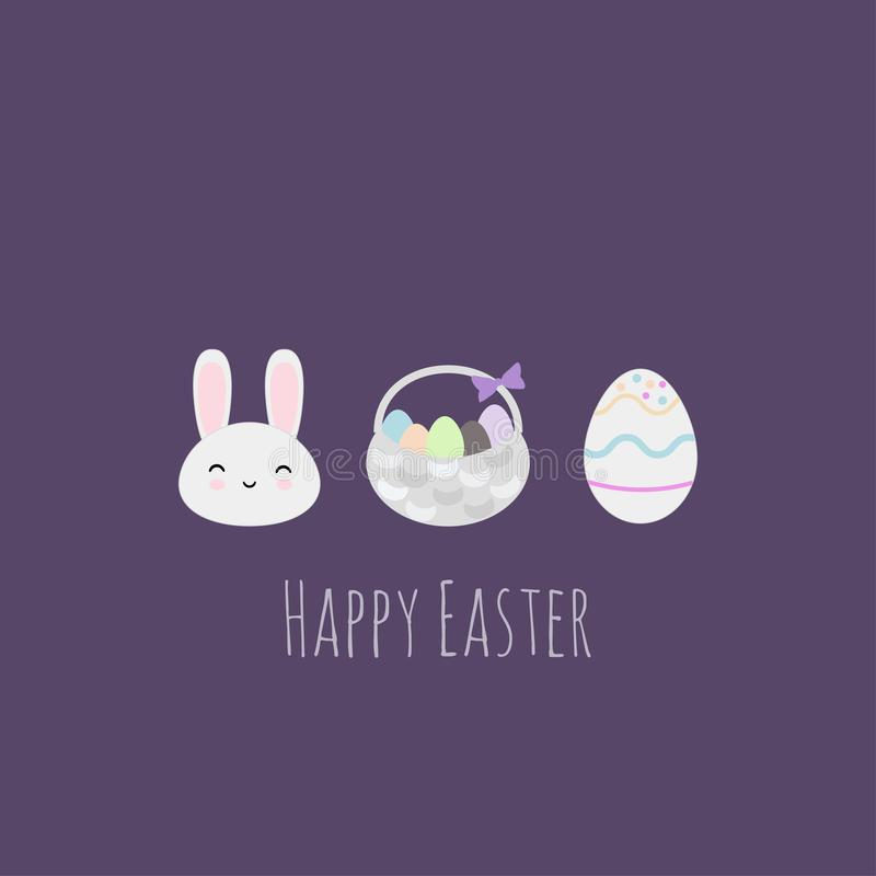 El conejo, el huevo y la cesta de Pascua vector estilo plano del ejemplo stock de ilustración