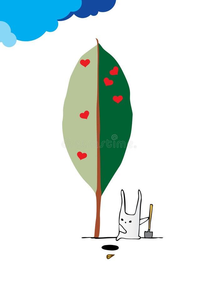El conejo planta un árbol ilustración del vector