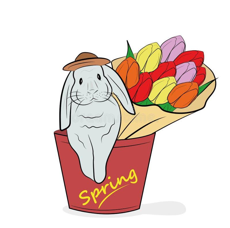 El conejo se sienta en una maceta con un ramo de flores el concepto de primavera y del día de fiesta de Pascua Ilustración del ve stock de ilustración