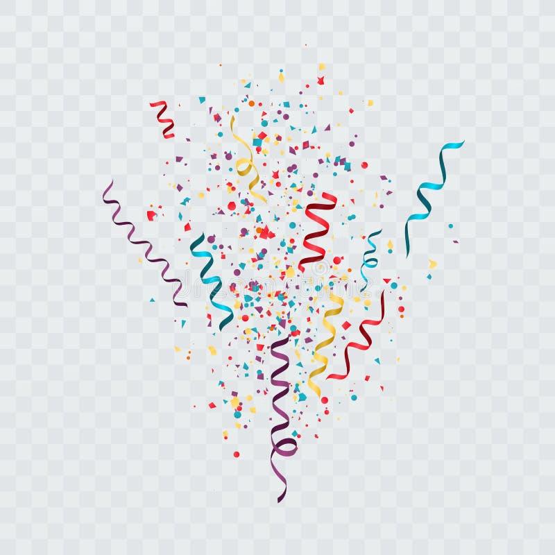El confeti colorido estalló la plantilla festiva con confeti y flámulas Ilustración del vector ilustración del vector