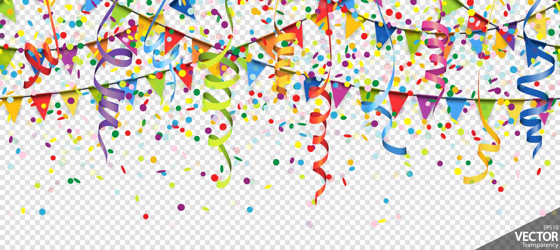 el confeti, las guirnaldas y las flámulas van de fiesta el fondo stock de ilustración
