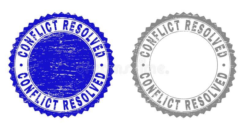 El CONFLICTO del Grunge RESOLVIÓ sellos texturizados stock de ilustración