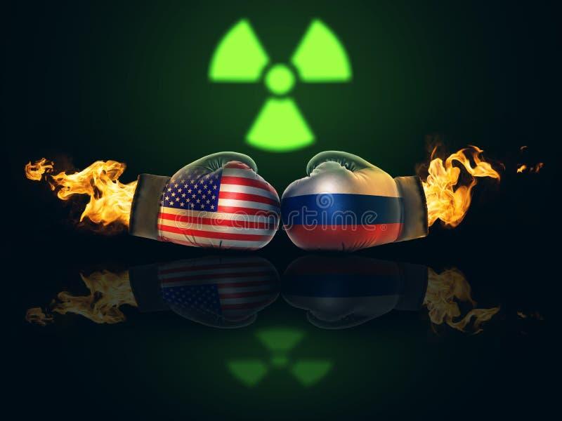 El conflicto entre los E.E.U.U. y Rusia se extiende con los misiles nucleares stock de ilustración